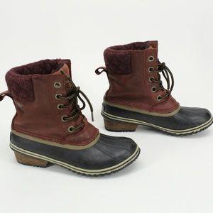 Sorel Shoes - Sorel Maroon Suede Slimpack Ii Lace Boots